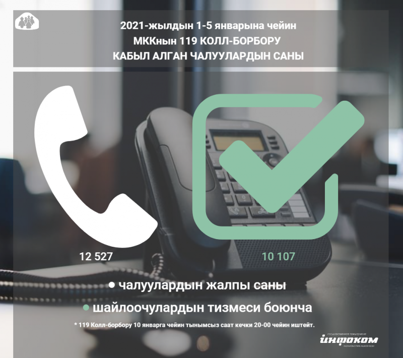 «119 Call болборуна»:  жылдын алгачкы күндөрүндө 12 миң 527 чалуу болду